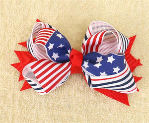 4th of July Flag Hair Bows for Girls with Clips
