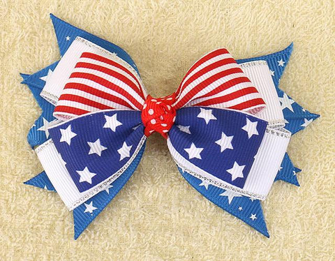 4th of July Flag Hair Bows for Girls with Clips - LoveLuve