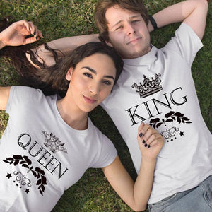 King Queen Letter Crown Print Tshirt Couple Short Sleeve Tops Tee Women's T-shirts Men White T Shirt Lovers Summer Top