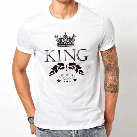 Image of King Queen Letter Crown Print Tshirt Couple Short Sleeve Tops Tee Women's T-shirts Men White T Shirt Lovers Summer Top