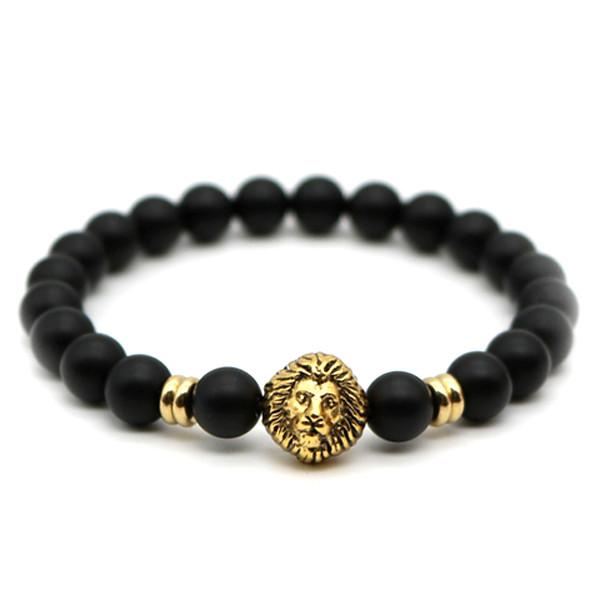 Matte Stone Lion Men's Bracelet - LoveLuve