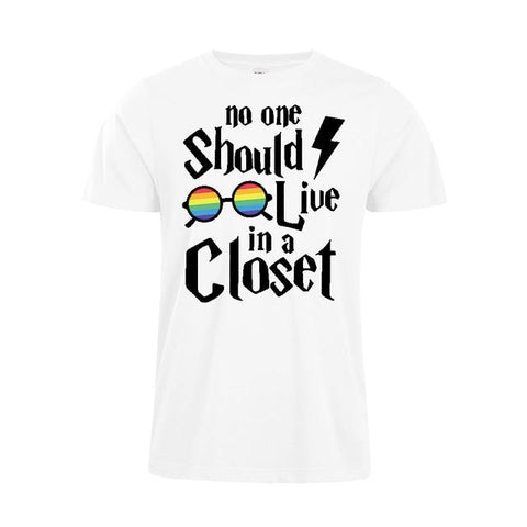 Image of No One Should Live In A Closet Unisex T-Shirt LGBT Tee HP Hogwart Rainbow Shirt Pride Parade Shirt
