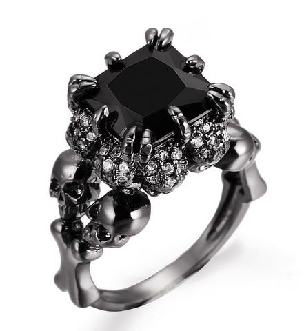 Black Zircon Women's Skull Wedding Ring - LoveLuve
