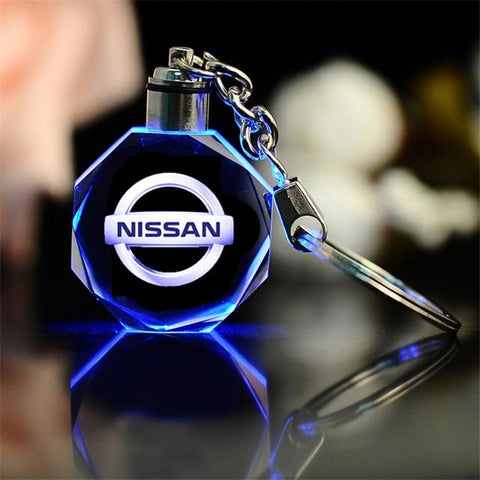 3D Laser Engraved Crystal LED Car Logo Keychain