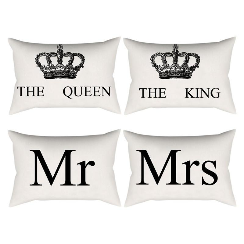 Home Decor Cushion Cover Crown Queen King Print Decorative Pillowcase for Sofa Seat Linen Cotton Pillow Covers - LoveLuve