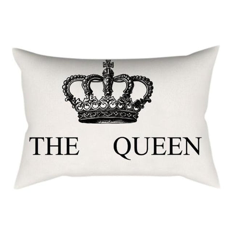 Image of Home Decor Cushion Cover Crown Queen King Print Decorative Pillowcase for Sofa Seat Linen Cotton Pillow Covers - LoveLuve