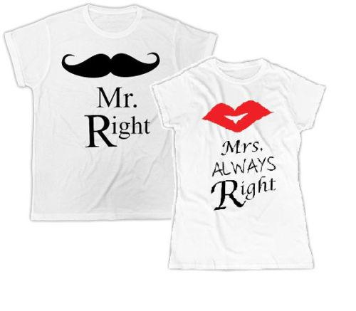 Mr & Mrs Always Right T Shirt - LoveLuve