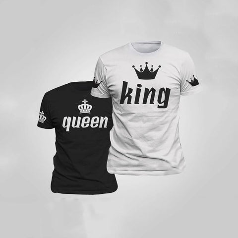 Image of Valentine Shirts Woman Cotton King Queen Funny Letter Print Couples Leisure T-shirt Man Tshirts Short Sleeve O neck T-shirt