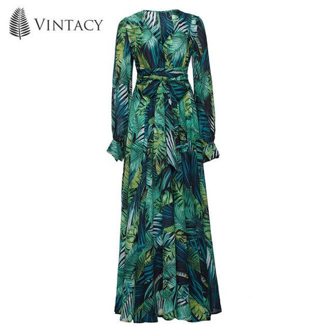 Image of Vintacy Long Sleeve Dress Green Tropical Beach Vintage Maxi Dresses Boho Casual V Neck Belt Lace Up Tunic Draped Plus Size Dress