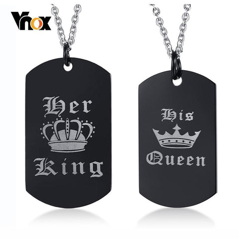 Image of Vnox Her King and His Queen Pendant Necklace Engraved Crown Charm Love Collar Anniversary Gifts
