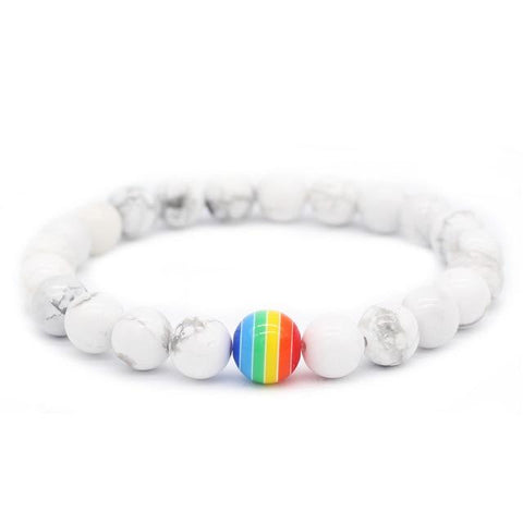 Image of Rainbow Bead Bracelet LGBT Pride Stone Strand Couple Bracelets Male Female Handmade Jewelry MBR180167