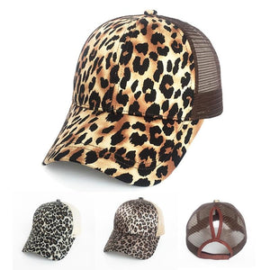 Fashion Leopard Ponytail Women Baseball Cap - LoveLuve