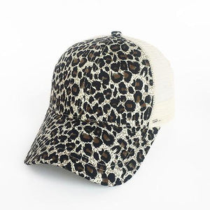 Fashion Leopard Ponytail Women Baseball Cap