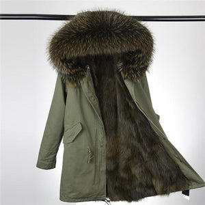 Faux Fur Parka Collar Hooded Long Winter Jacket Coat