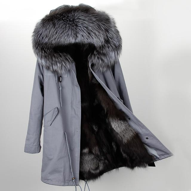 Faux Fur Parka Collar Hooded Long Winter Jacket Coat - LoveLuve