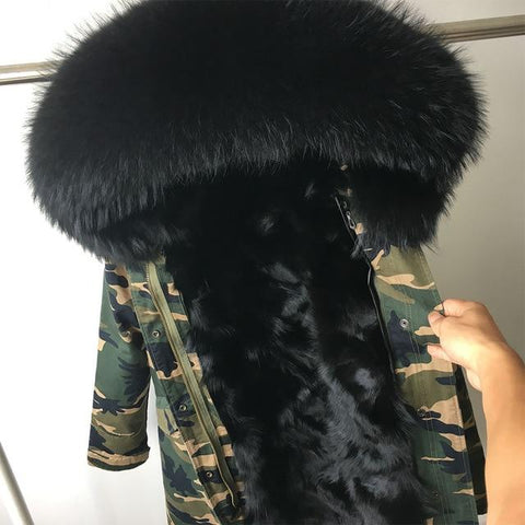 Image of Faux Fur Parka Collar Hooded Long Winter Jacket Coat - LoveLuve