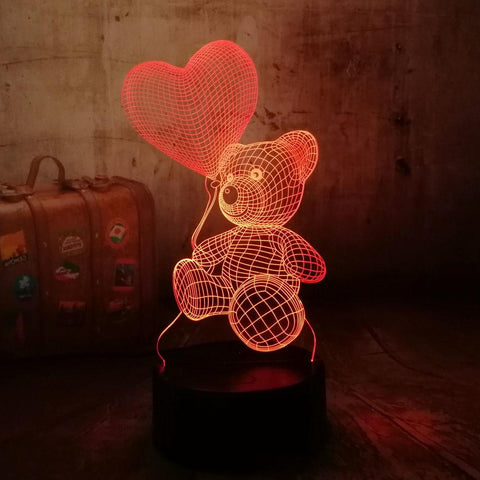 Image of Baby Teddy Bear Hold Love Heart Balloon Table Lamp