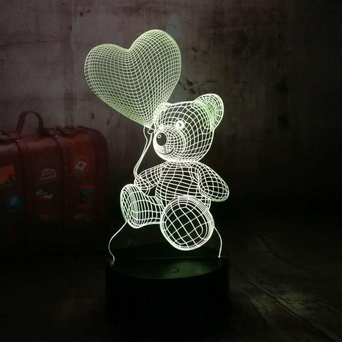 Baby Teddy Bear Hold Love Heart Balloon Table Lamp