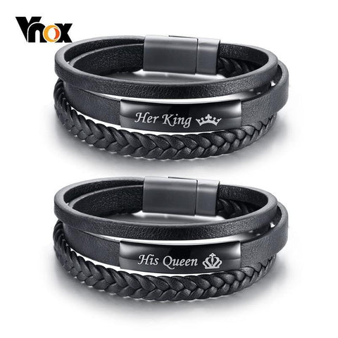 Image of Vnox His Queen and Her King Couple Bracelets Black Braided Genuine Leather Promise Love pulseira Gifts