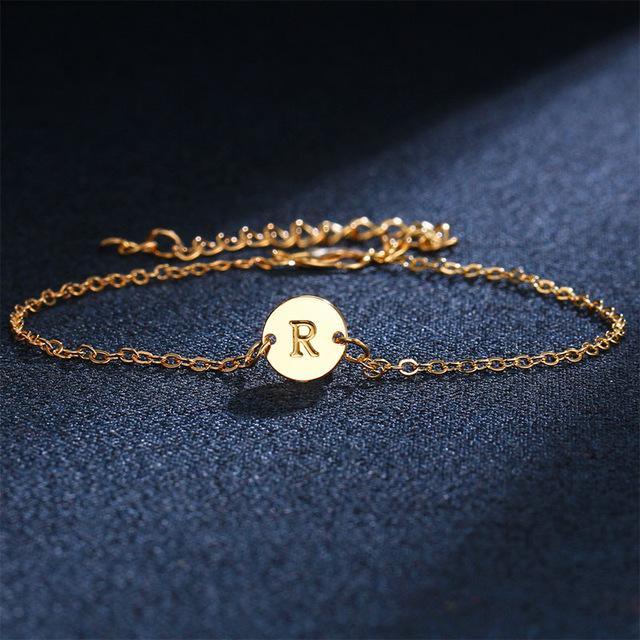 Adjustable Gold Color English Letter A-S Women Bracelet - LoveLuve