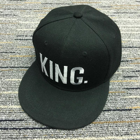 Image of Flat Baseball Cap King and Queen Embroidered Snapback Hip Hop Couple Caps Women Men Adjustable Cotton Hats Fashion Summer Hat