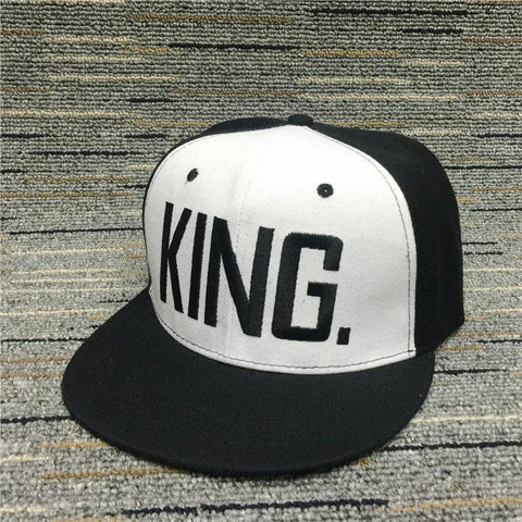 Flat Baseball Cap King and Queen Embroidered Snapback Hip Hop Couple Caps Women Men Adjustable Cotton Hats Fashion Summer Hat