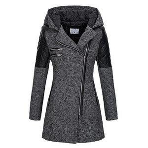 Women Winter Hooded Zipper Slim Patchwork Windproof Overcoats