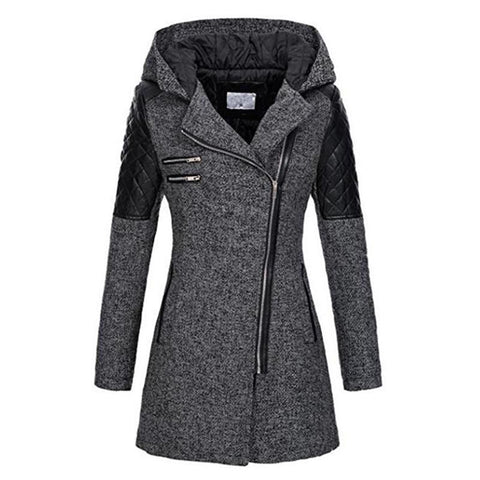 Image of Women Winter Hooded Zipper Slim Patchwork Windproof Overcoats