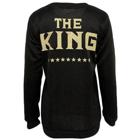 Image of Women Queen King Letter Print Long Sleeve Top Family Couple Sweatershirt
