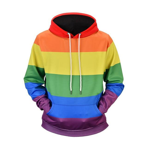 Image of Fashion Rainbow Stripes Printed Sweatshirt Hoodies Men Women Streetwear LGBT Gay Pride Hoodie Autumn Long Sleeve Tracksuit