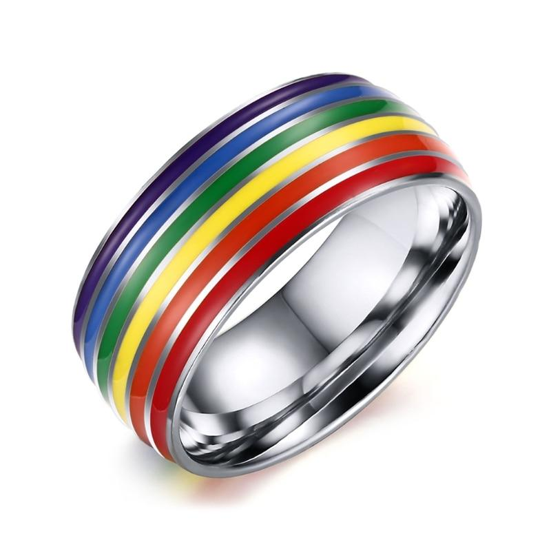 JAVRICK Rainbow LGBT Rings Jewelry Engagement Party Bagues Wedding Engagement Ring Finger Jewelry For Gay Lesbian