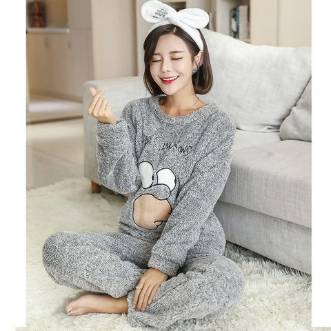 Image of Women Cat Bear with Hat Thick Flannel Pajamas