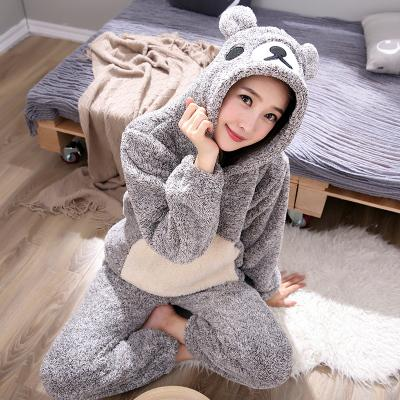 Women Cat Bear with Hat Thick Flannel Pajamas