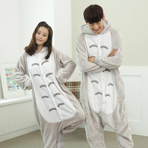 Image of Panda Totoro Unisex Flannel Hoodie Pajamas Costume Cosplay Animal Onesies Sleepwear For Men Women Adults Flannel onesie pijama