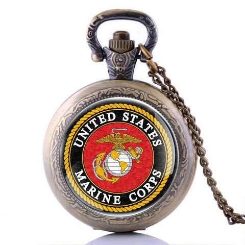 Image of Veterans Day Army USMC United States Marine Corps Pocket Watch Bronze Black Silver Color Available Dropship Cute Stationary