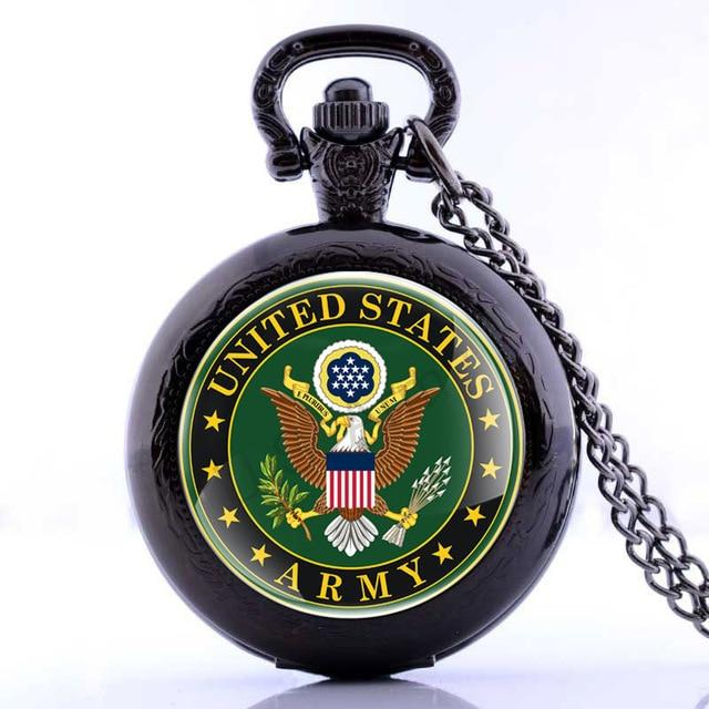 Veterans Day Army USMC United States Marine Corps Pocket Watch Bronze Black Silver Color Available Dropship Cute Stationary