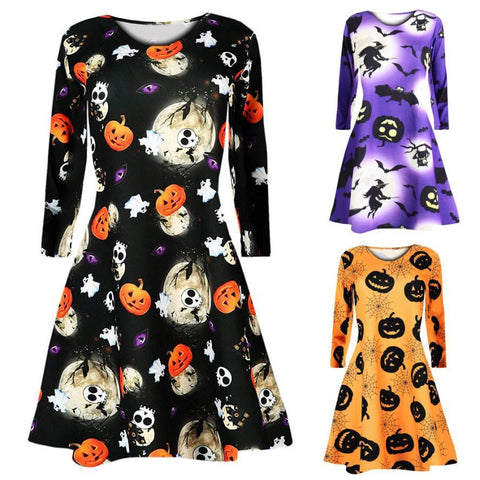 Image of Long Sleeve Pumpkins Skull Halloween Party Dress - LoveLuve