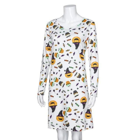 Image of Long Sleeve Pumpkins Print Halloween Dress - LoveLuve