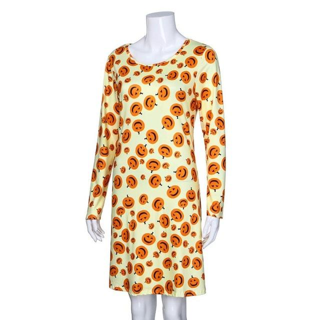 Long Sleeve Pumpkins Print Halloween Dress - LoveLuve
