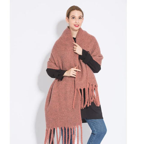 New Acrylic Pure Coffee Camel Colored Tassel Shawl
