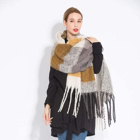 Image of New Acrylic Pure Coffee Camel Colored Tassel Shawl