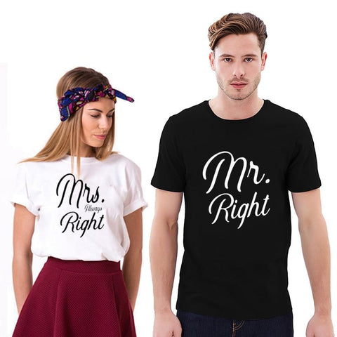 Mr Right Mrs Always Right Funny TShirt - LoveLuve