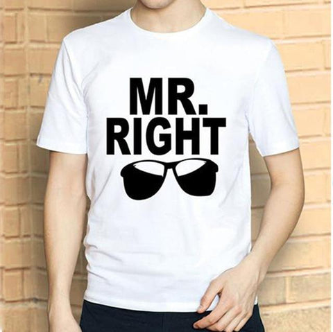 Mr Right / Mrs Always Right Funny Letter Print T-Shirt - LoveLuve