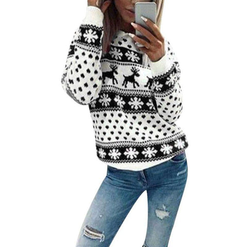 Image of 2018 autumn Christmas sweater for women winter Deer Snow Pattern patchwork ugly sweater knitted jumpers pullovers knitwear red - LoveLuve