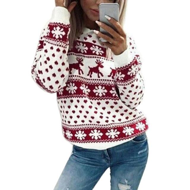 2018 autumn Christmas sweater for women winter Deer Snow Pattern patchwork ugly sweater knitted jumpers pullovers knitwear red - LoveLuve