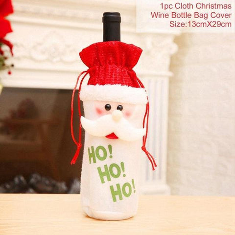 Image of FengRise Christmas Decorations for Home Santa Claus Wine Bottle Cover Snowman Stocking Gift Holders Xmas Navidad Decor New Year - LoveLuve