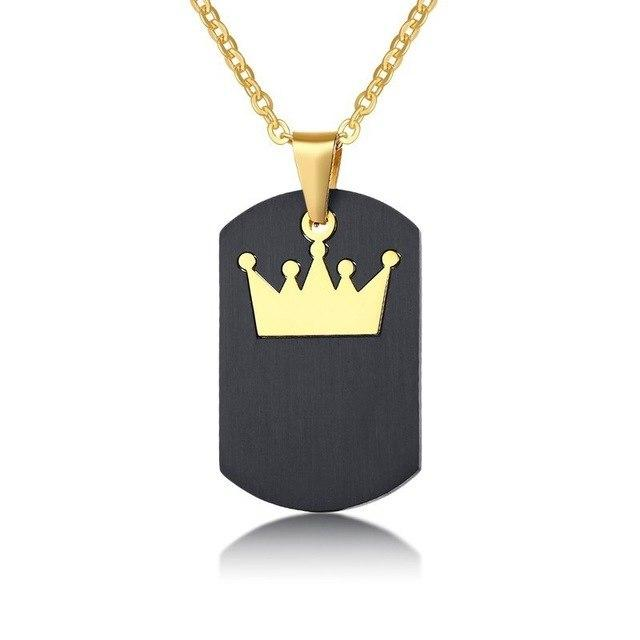 Vnox Black Dog Tag Necklace for Women Man Gold Tone Stainless Steel Queen King Crown Charm Pendants Promise Love Gifts