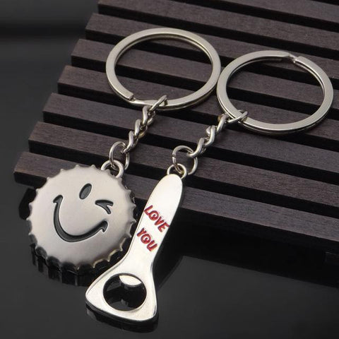 Image of Valentine's Day Gift Novelty Couple Keychain Silver Trinket Lovers Heart Key Chains Rings Wedding Jewelry