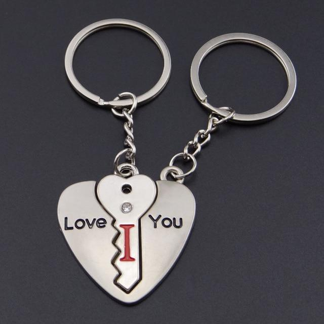 Valentine's Day Gift Novelty Couple Keychain Silver Trinket Lovers Heart Key Chains Rings Wedding Jewelry