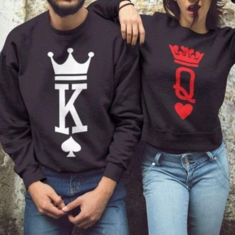 New Couple Lovers Autumn Hoodies  Fashion King Queen Poker Print Women Men Sweatshirt Casual Long Sleeve Matching Pullovers